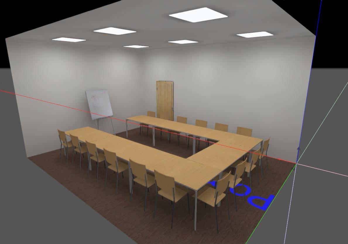 przykładowy projekt oświetlenia - pomieszczenie konferencyjne - przedstawienie niewłasciwych kolorów