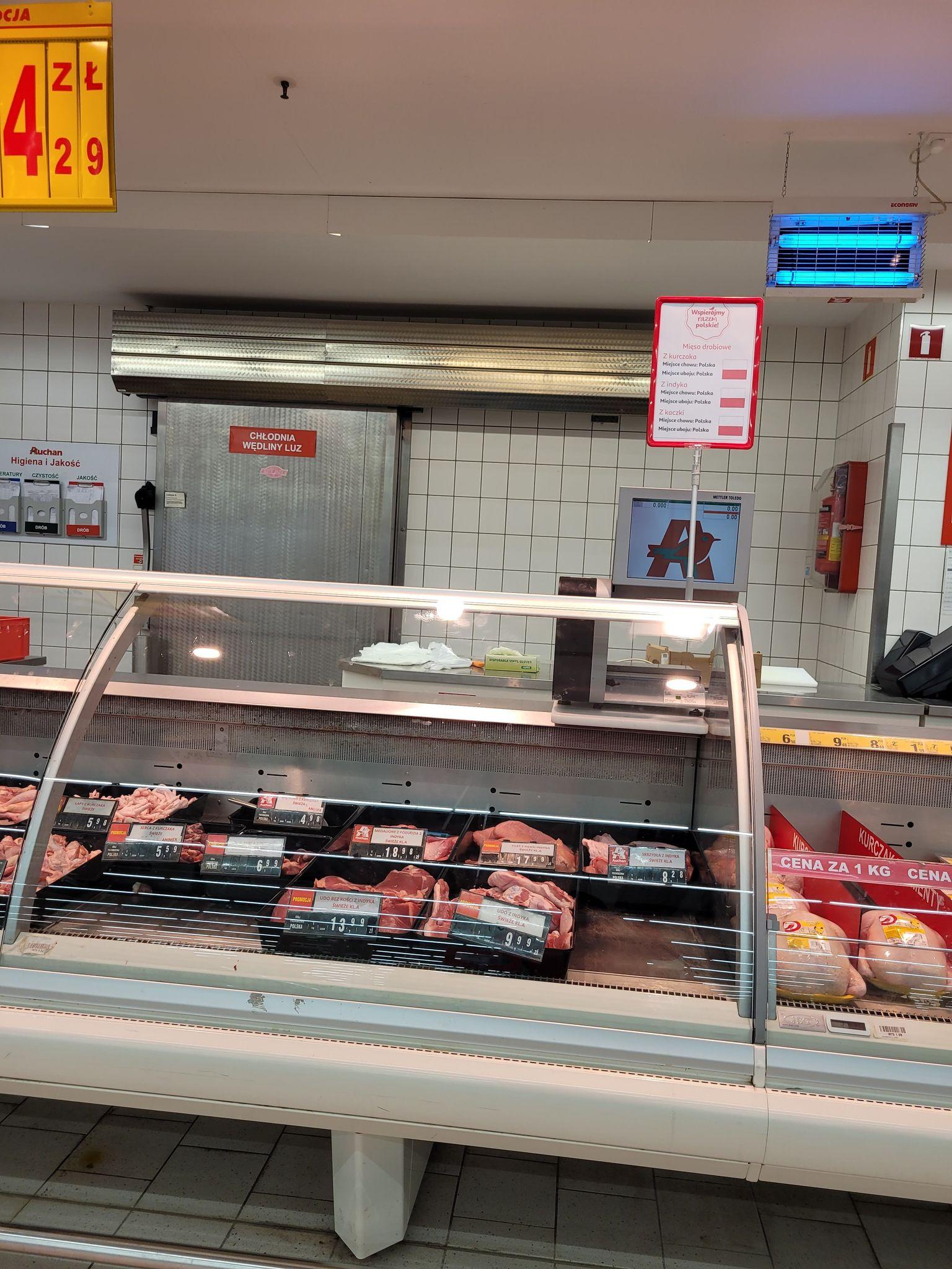 Oświetlenie stoiska mięsnego